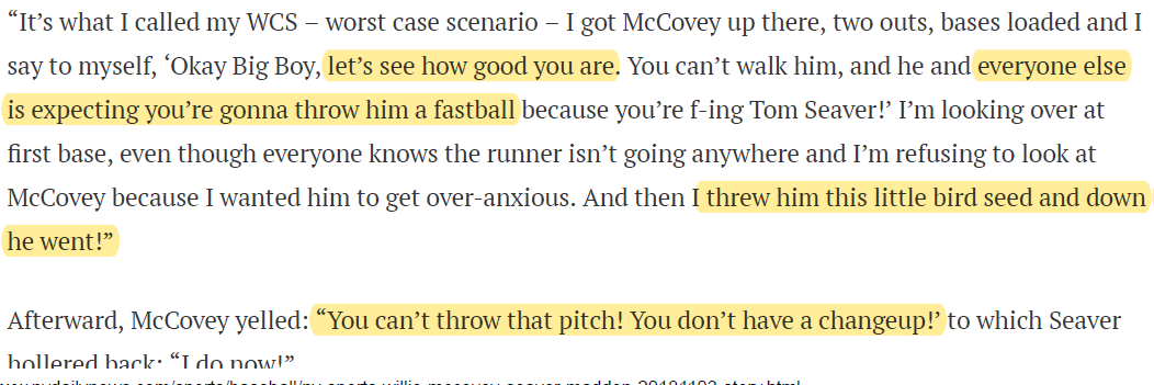 Seaver McCovey strikeout pitch